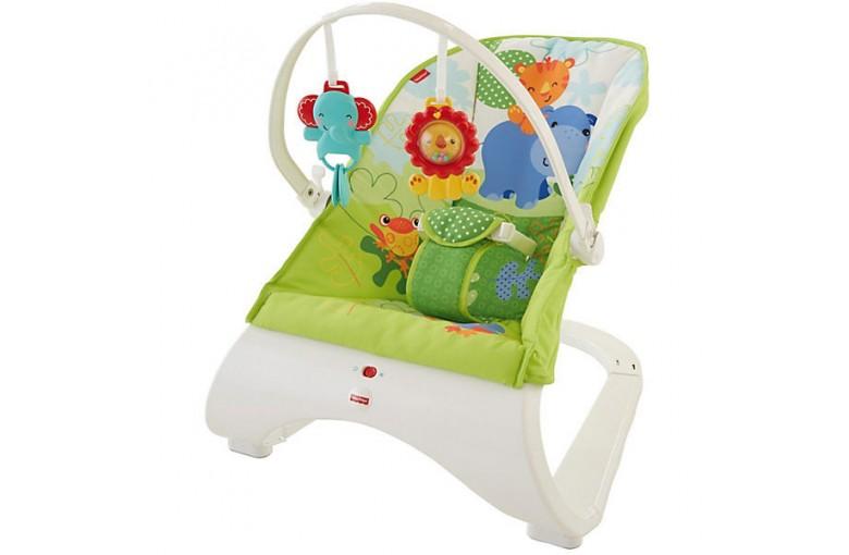 Детский шезлонг, кресло качалка Комфорт Fisher-Price Comfort Curve Bouncer (зеленый)